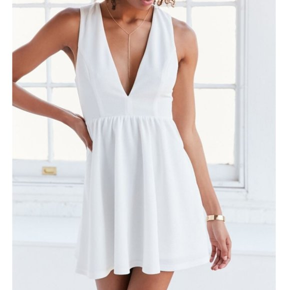 UO Lucca Couture Plunging Textured Fit+Flare Dress